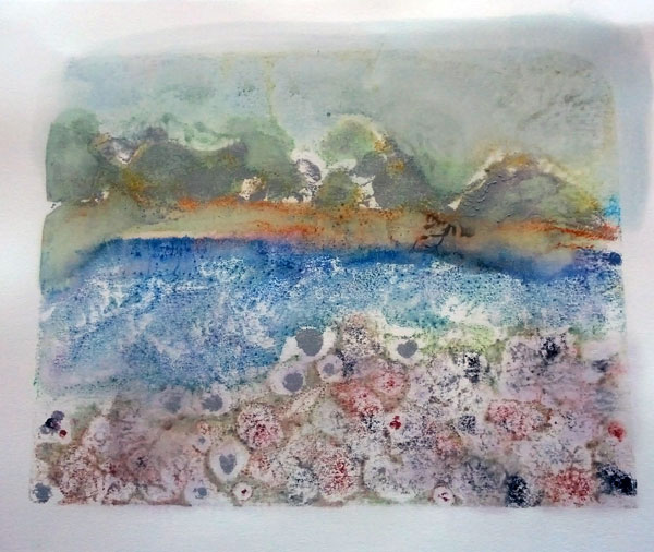 experimental encaustic monotype